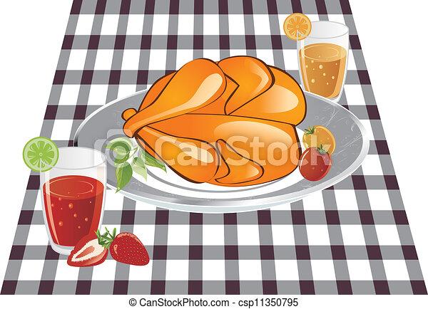 delicioso, colocado, lino, asado, tabla, pollo - csp11350795