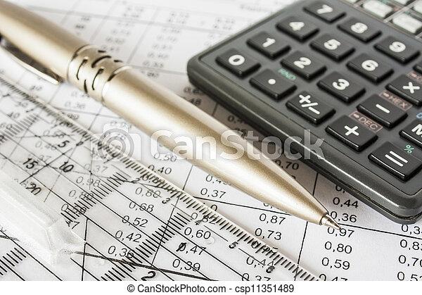 bills pen and calculator, accounting - csp11351489