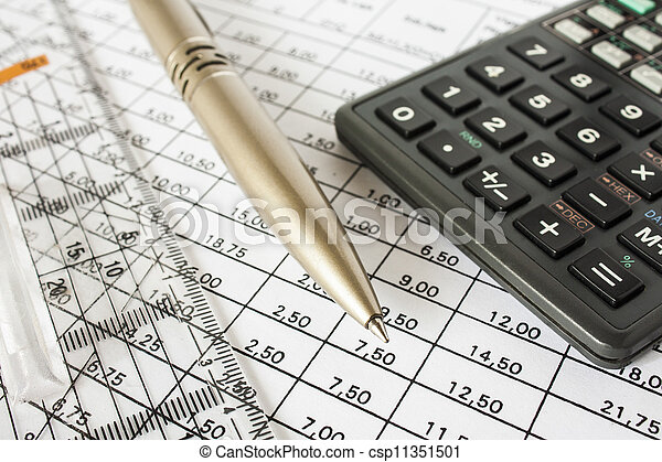 bills pen and calculator, accounting - csp11351501