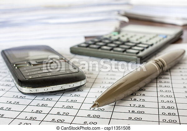 bills , pen .cell phone and calculator, accounting - csp11351508