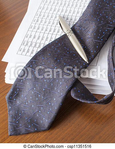 bills , pen and necktie, accounting - csp11351516