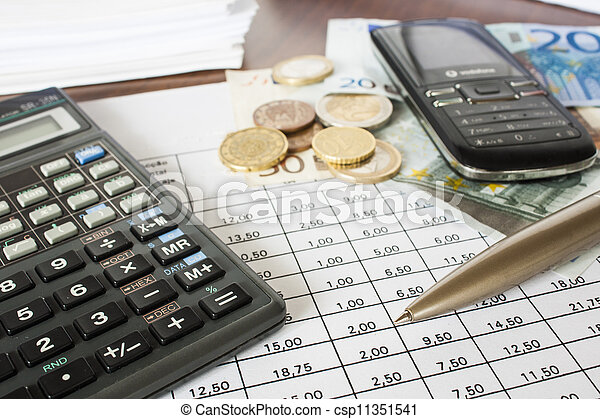 Money, bills and calculator, accounting - csp11351541
