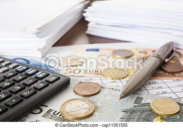 Money, bills and calculator, accounting - csp11351555
