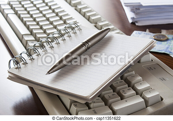 Money, bills , notebook and calculator, accounting - csp11351622