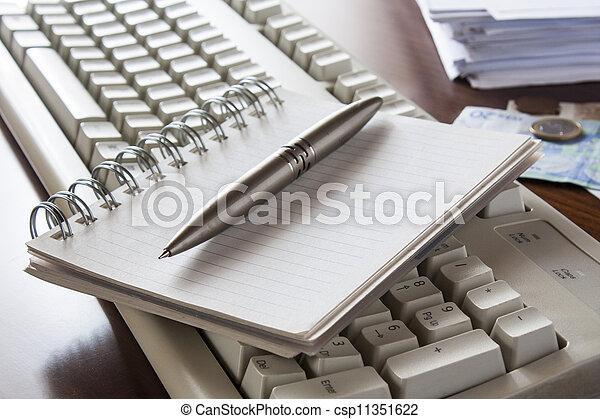 Money, bills ,notebook and calculator,accounting - csp11351622