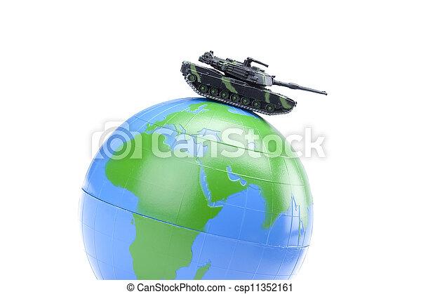 globe with military tank - csp11352161