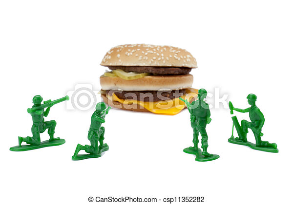 hamburger with military toy soldiers - csp11352282