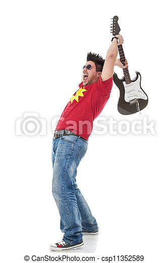 young casual man shouting and preparing to smash his electric guitar on white background