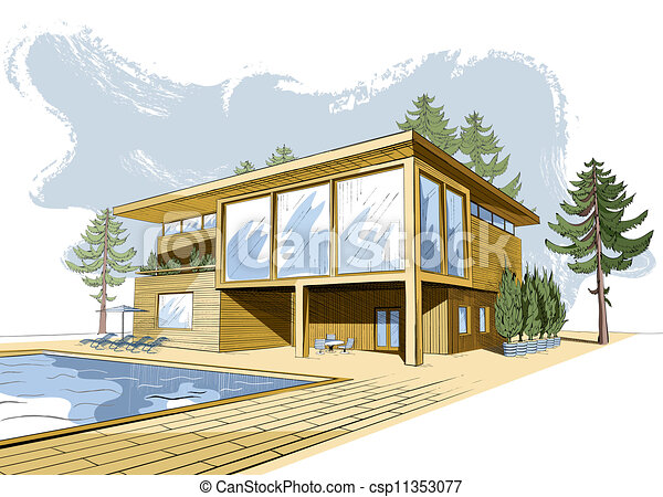 Vectors illustration of vector colored background with Drawing modern houses