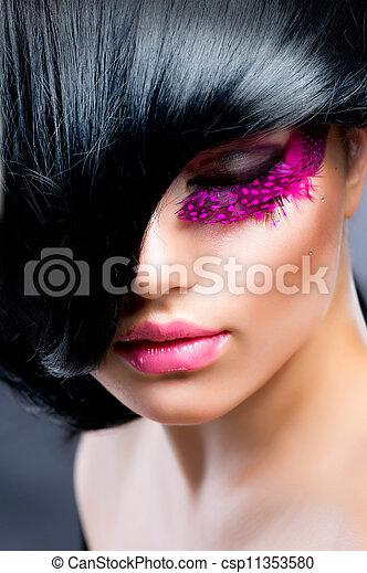 肖像, 模型, 時裝, 黑發淺黑膚色女子 - csp11353580