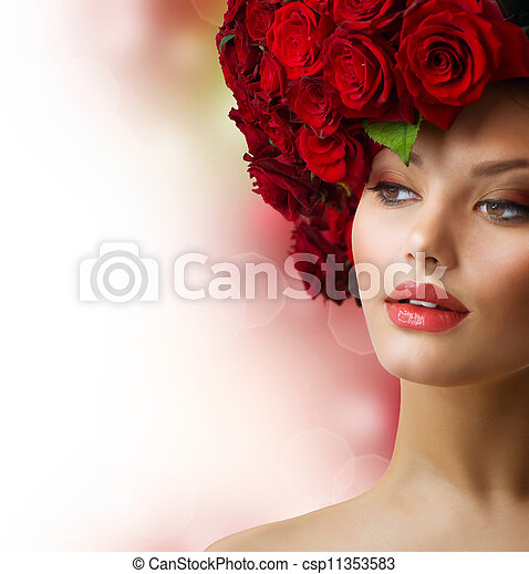 Fashion Model Portrait with Red Roses Hair  - csp11353583