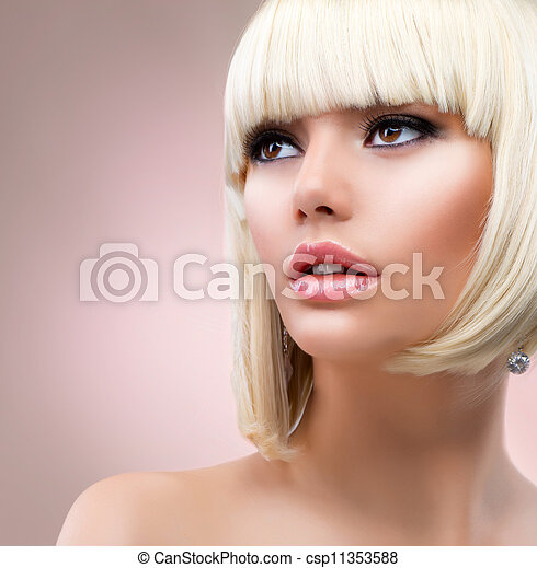 mujer, pelo, Moda, retrato, rubio, rubio - csp11353588
