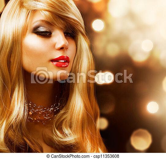 Blond Fashion Girl. Blonde Hair. Golden background - csp11353608