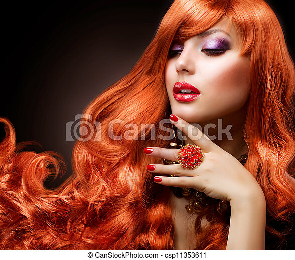 Wavy Red Hair. Fashion Girl Portrait - csp11353611