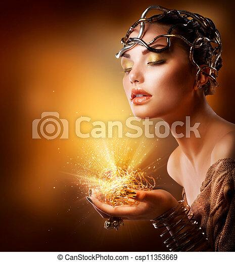 Fashion Girl Portrait. Golden Makeup - csp11353669