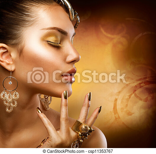 肖像, 女孩, 時裝, 金, makeup. - csp11353767