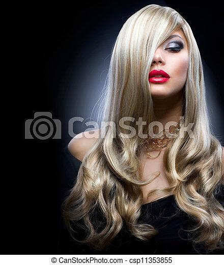 menina, moda, loura - csp11353855