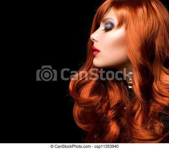 時裝, 波狀, 頭髮, 肖像, 女孩, 紅色 - csp11353940