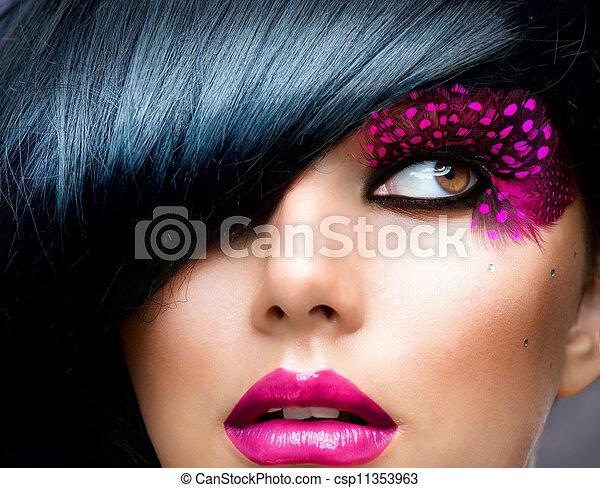 黑發淺黑膚色女子, 模型, 時裝, 肖像, 發型 - csp11353963