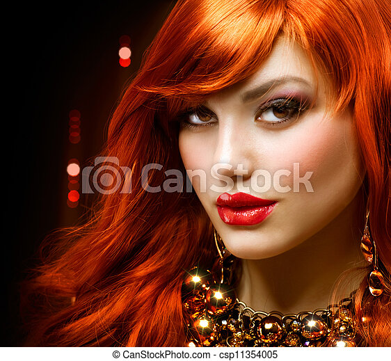Fashion Red Haired Girl Portrait. Jewelry - csp11354005