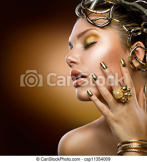 Golden Makeup. Fashion Girl Portrait - csp11354009