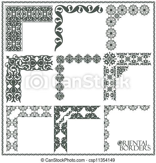 Dessin de oriental, Style, Ornement, éléments, tout ... | 450 x 470 jpeg 57kB
