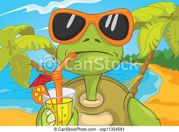 Vector of Funny Turtle Drinking Cocktail. - Cartoon ...