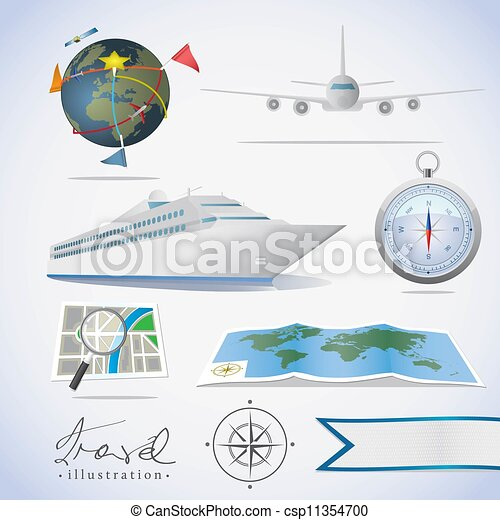Travel icons. Different types of transportation, compass and maps. - csp11354700