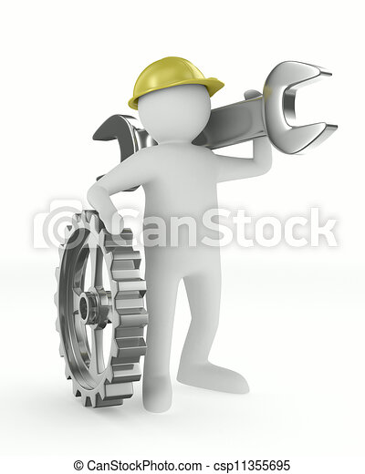 Man with wrench on white background. Isolated 3D image - csp11355695