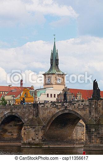 Prague, view of the Vltava River and bridges - csp11356617