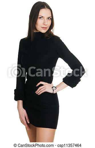 Young beautiful woman in black dress - csp11357464
