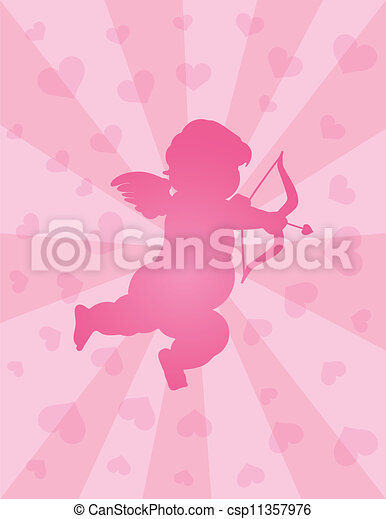 Valentines Day Cupid with Bow and Arrow - csp11357976