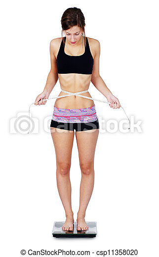 Very thin woman on scale - csp11358020