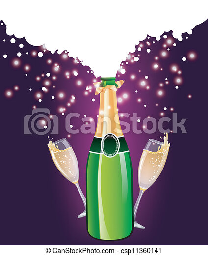 Clip Art Vector of champagne bottle and glass with confetti ...