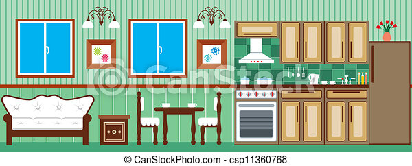 clip art vector of dining room and kitchen - vector illustration
