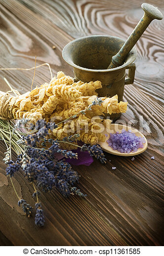 Herbs And Antique Mortar With Pestle - csp11361585