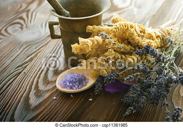 Herbs And Antique Mortar With Pestle - csp11361985