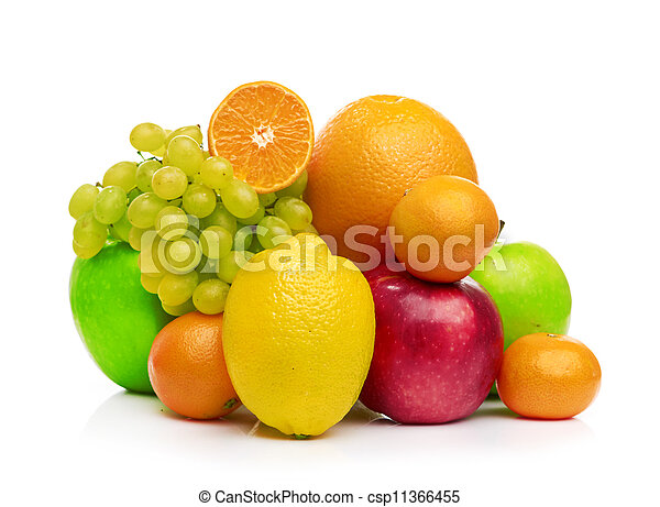 Composition with fruits isolated on a white - csp11366455