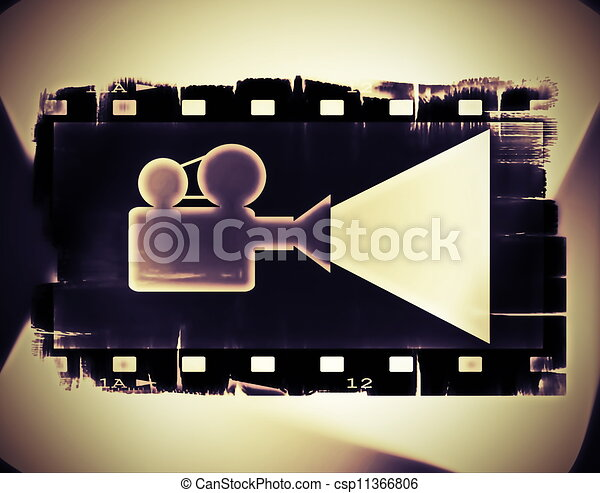 Old film strip frame and movie  - csp11366806
