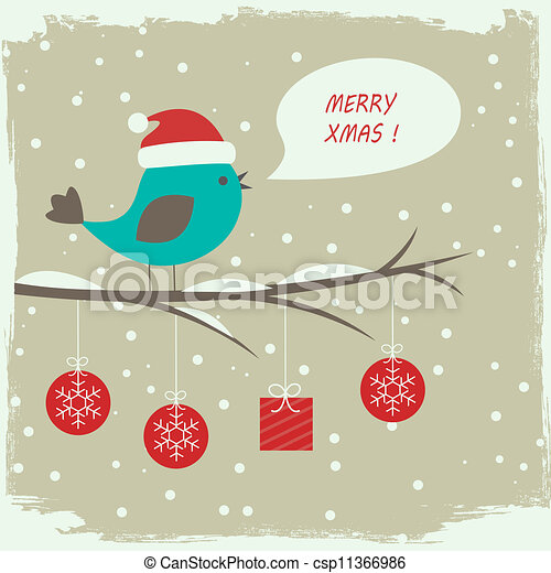 Retro winter card with cute bird - csp11366986