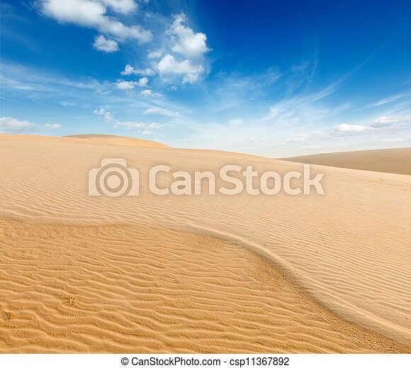 White sand dunes on sunrise, Mui Ne, Vietnam - csp11367892