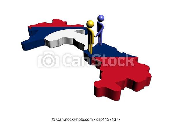 Meeting on Laos map flag illustration - csp11371377