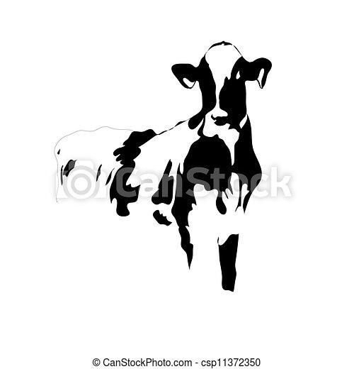 vecteur clipart de vache grand vecteur noir portrait blanc portrait de csp11372350. Black Bedroom Furniture Sets. Home Design Ideas