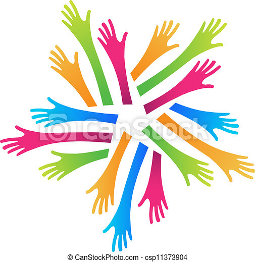 Vector Clipart of Helping Hands - Group of arms and hands in ...