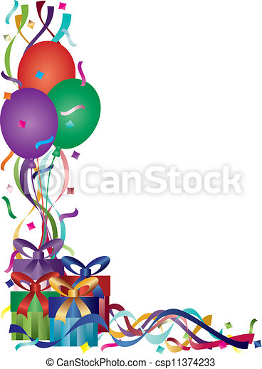 Line art eps picture pictures graphic graphics drawing drawings - Vectors Of Birthday Presents With Ribbons And Confetti