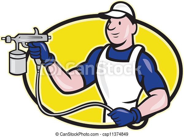 Spray Gun Drawing Spray Painter Spraying Gun