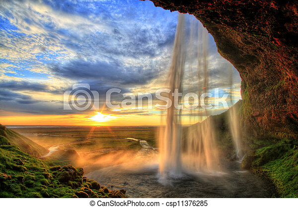Islândia,  hdr, Cachoeira, pôr do sol,  seljalandfoss - csp11376285