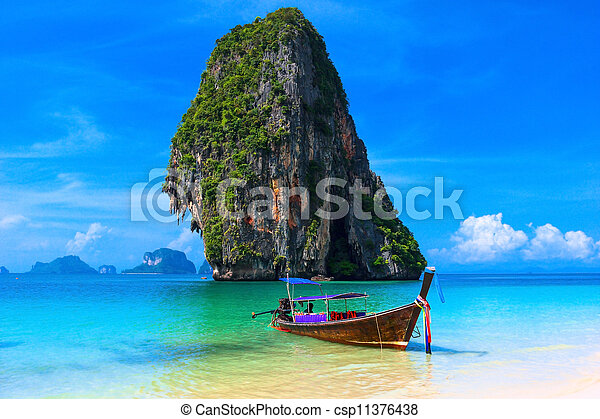 Summer beach tropical landscape  Thailand island scenic background, azure water, traditional long tail boat and rock - csp11376438