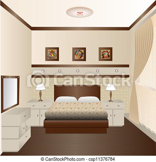 Vetor de interior sala janela espelho ilustra o for Sala de estar 3x5