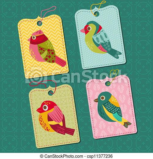 Scrapbook Design elements - Tags with Birds - for design, baby scrapbook - in vector - csp11377236